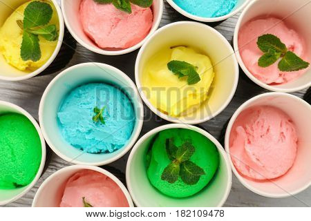 Ice cream collection in paper cups, closeup