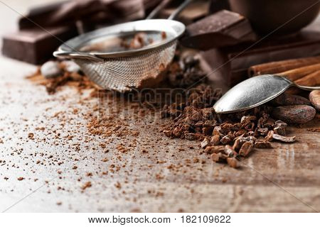 Composition with cocoa powder and nibs, closeup