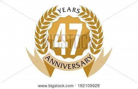 47 Years Ribbon Anniversary Celebration Congratulation Elegance
