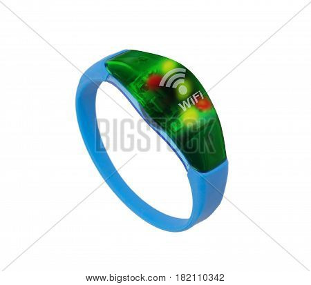 Hitech device blue wristband show wifi connected on white background.