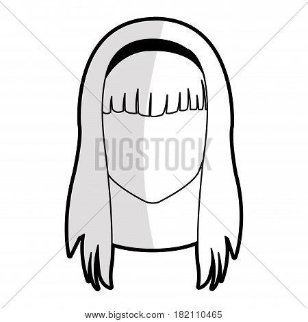 faceless young woman with long straight hair with fringe icon image vector illustration design