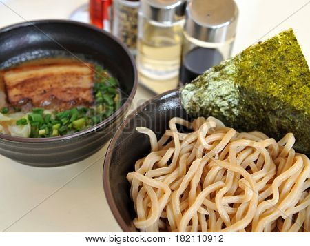 Ramen Udon Noodles With Seaweed And Pork