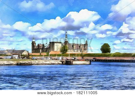 Colorful painting of Kronborg palace Hamlets Elsinore Castle Denmark