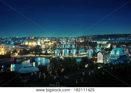 Bridges at night, Prague, Czech Republic