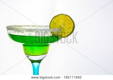 Lime drink on a white background with sugar