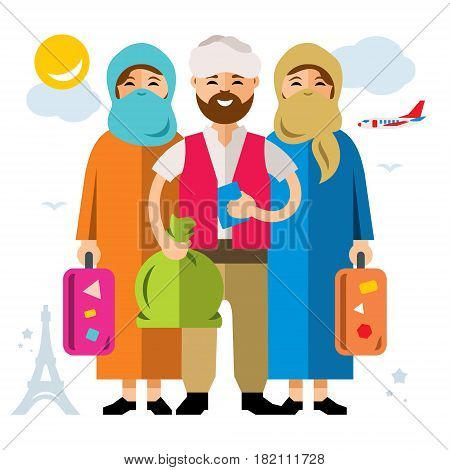 Group of people travel to Europe. Isolated on a white background