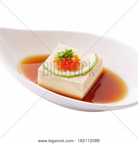 Sweet Tofu With Fish Eggs And Sauce