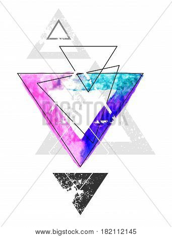 Composition of geometric shapes with a triangle painted with bright watercolor paint on a white background. Watercolor drawing. Tattoo style.