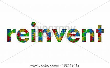 Reinvent Puzzle Pieces Word Redo Restart Innovate 3d Illustration