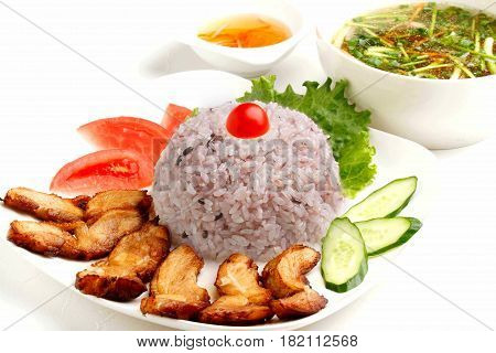 Vietnamese Lunch Set Of Rice With Fried Pork And Soup