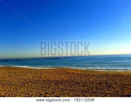 Desert beach. Beach with no people. Dawn in the beach