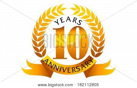 This vector describe about 10 Years Ribbon Anniversary