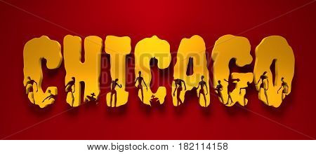 Chicago city name and zombie silhouettes on them. Halloween theme background. 3D rendering