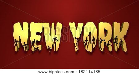 New York city name and zombie silhouettes on them. Halloween theme background. 3D rendering