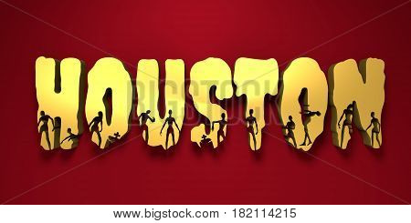 Houston city name and zombie silhouettes on them. Halloween theme background. 3D rendering