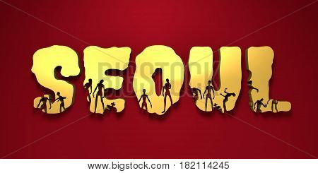 Seoul city name and zombie silhouettes on them. Halloween theme background. 3D rendering
