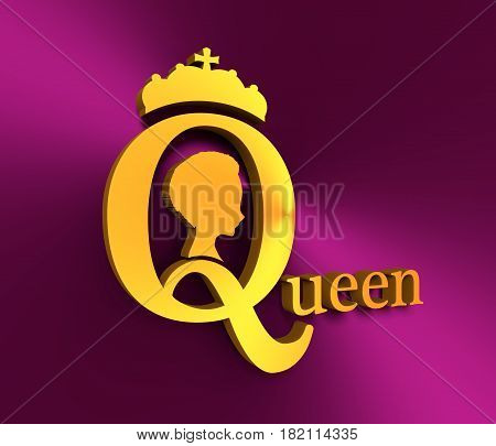 Vintage queen silhouette. Medieval queen profile. Elegant silhouette of a female head. Short hair. Royal emblem with Q letter. 3D rendering. Metallic material