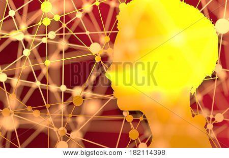 Silhouette of a woman head. Mental health relative brochure, report design. Scientific medical designs. 3D rendering. Metallic material