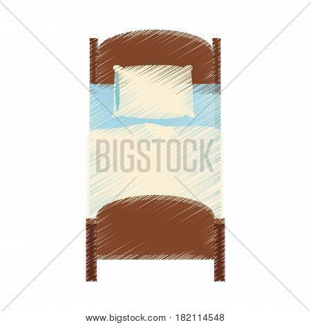 single bed topview icon image vector illustration design