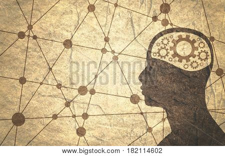 Silhouette of a man's head with gear. Mental health relative brochure or report design template. Scientific medical designs. Connected lines with dots. Grunge texture