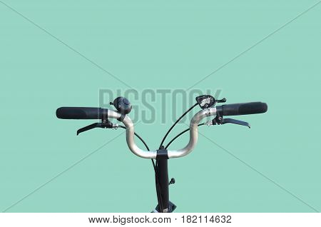Concept travel bicycle on the road , Green background for replace picture