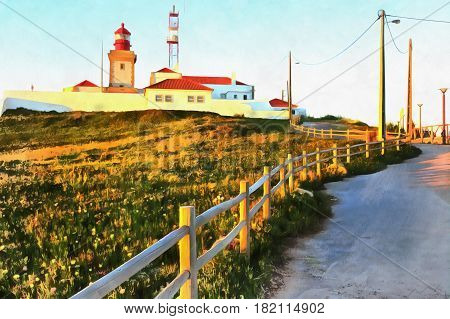 Colorful painting of lighthouse on cape Cabo da Roca, Portugal
