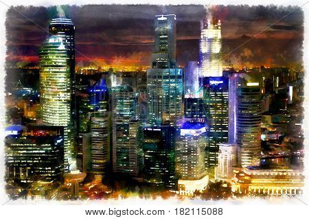 Colorful painting of night cityscape of Singapore