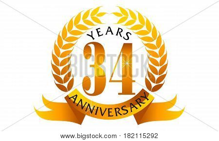 This vector describe about 34 Years Ribbon Anniversary