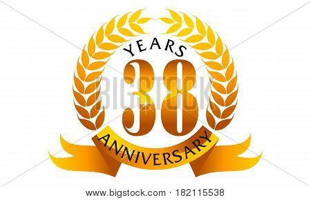 This vector describe about 38 Years Ribbon Anniversary