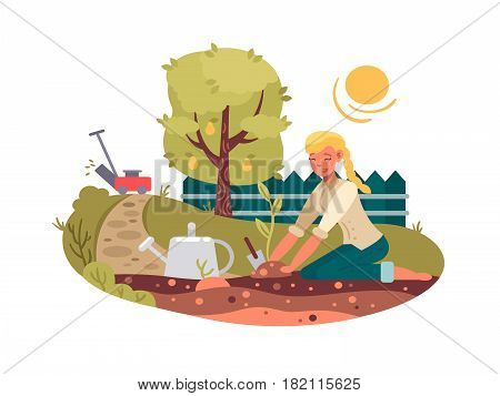 Young girl planting seedling in green garden. Vector flat illustration