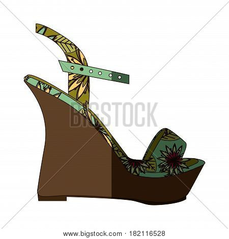 colorful silhouette of sandal shoe with platform sole and floral decoration with middle shadow vector illustration