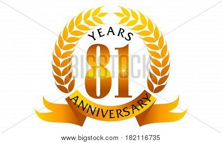 This Vector describe about 81 Years Ribbon Anniversary
