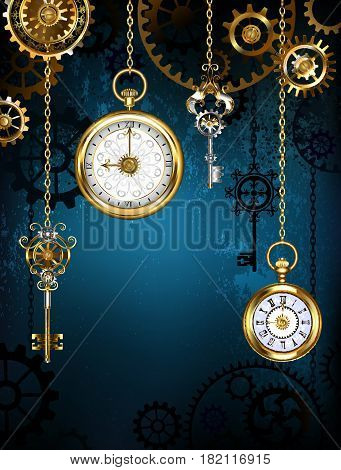 Design with clocks and gears ( Steampunk background )