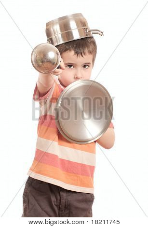 Little Boy Play Knight With Kitchen Utensil
