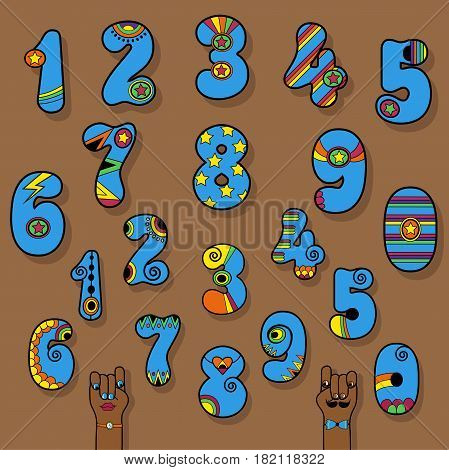 Set of Vintage Numerals. Blue signs with bright yellow and orange decor. Superhero and Disco Style. Cartoon Hands. Vector Illustration