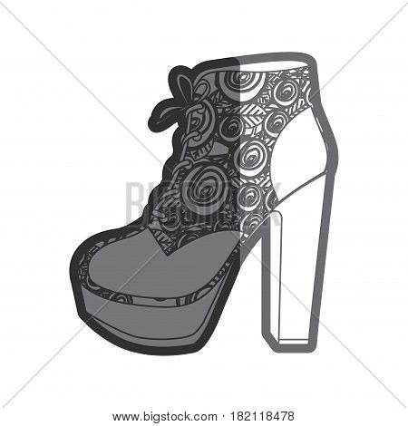gray thick contour of high heel shoe with shoelaces with floral decoration vector illustration