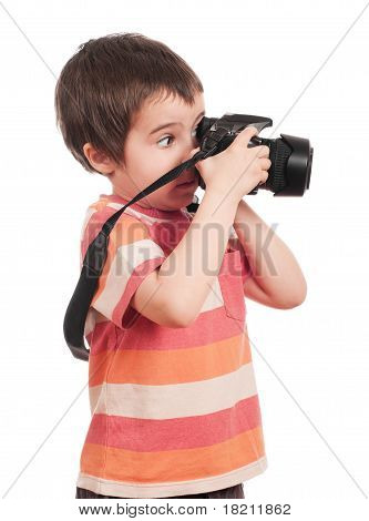 Little Boy Photographer With Slr Camera