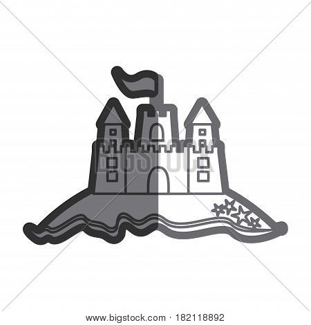 gray thick contour of beach and sandcastle with flag vector illustration