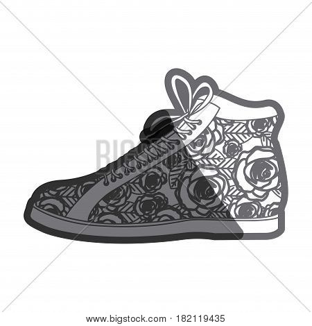gray thick contour of boot with shoelaces and floral decoration vector illustration