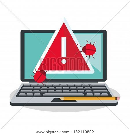 computer with warning sign and bugs over white background. colorful design. vector illustration