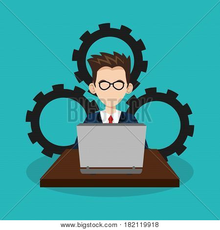man with laptop commputer over gear wheels and blue background. human resources concept. colorful design. vector illustration