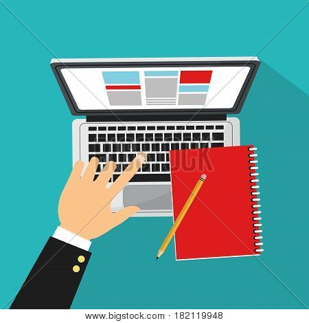 hand with computer and notebook over blue background. human resources concept. colorful design. vector illustration
