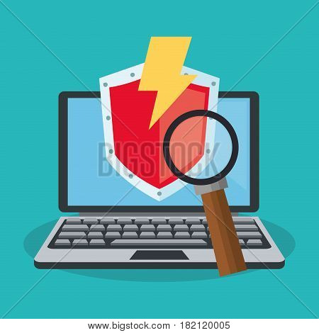 computer with cyber security related icons over blue background. colorful desing. vector illustration