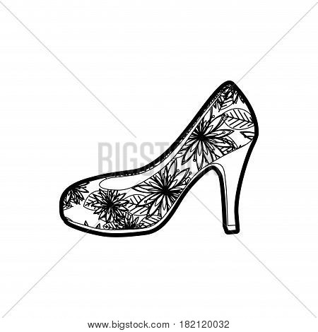 black thick contour of high heel shoe with floral decoration vector illustration