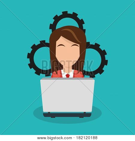 woman with laptop commputer over gear wheels and blue background. human resources concept. colorful design. vector illustration
