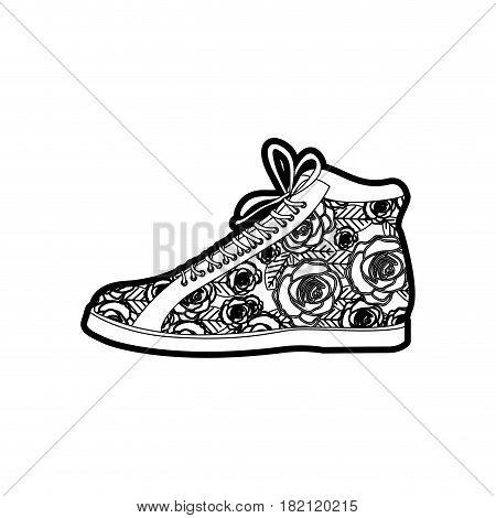 black thick contour of boot with shoelaces and floral decoration vector illustration