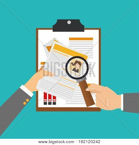 curriculum vitae and hand holding a magnifyin glass over blue background. human resources concept. colorful design. vector illustration