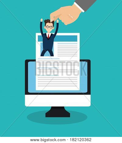 computer and curriculum vitae icon over blue background. human resources concept. colorful design. vector illustration