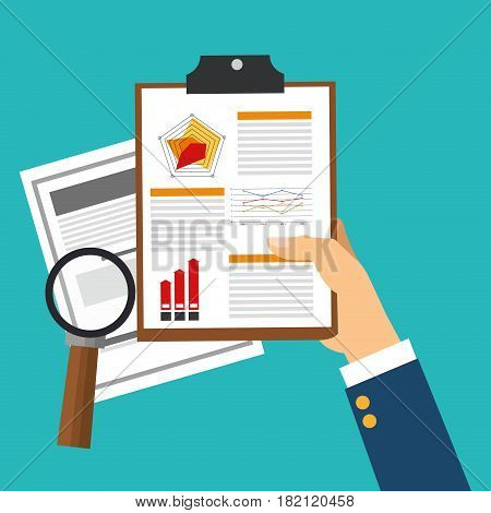 hand with documents and magnifying glass over blue background. human resources concept. colorful design. vector illustration