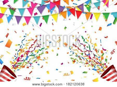 Colorful flag, confetti and party popper on white background Vector